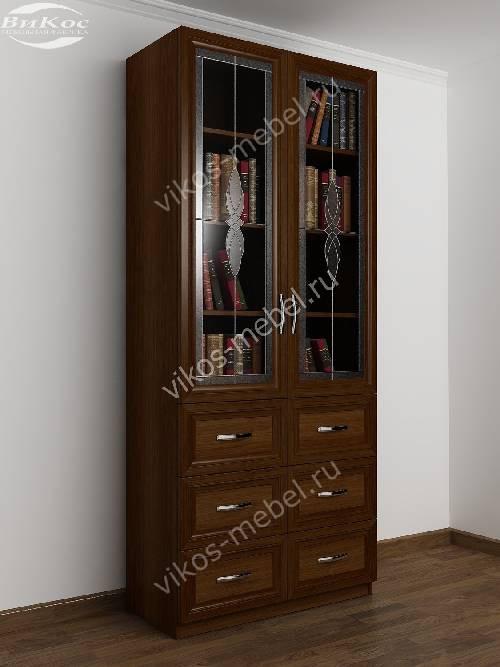 Книжный шкаф со стеклянными дверцами c витражным стеклом с выдвижными ящиками шириной 80-90 см цвета яблоня