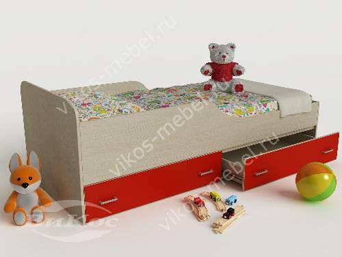 Детская кровать с ящиками для девочки красного цвета