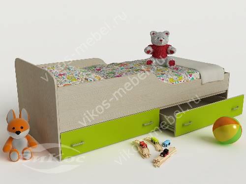 Детская кровать с ящиками цвета зеленый лайм