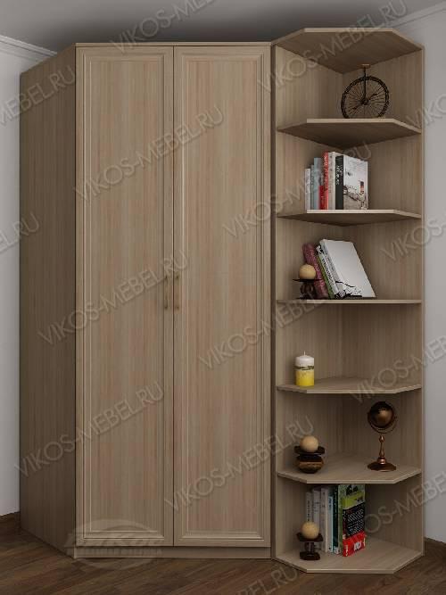 Платяной 2-створчатый шкаф угловой с распашными дверями для спальни цвета шимо светлый