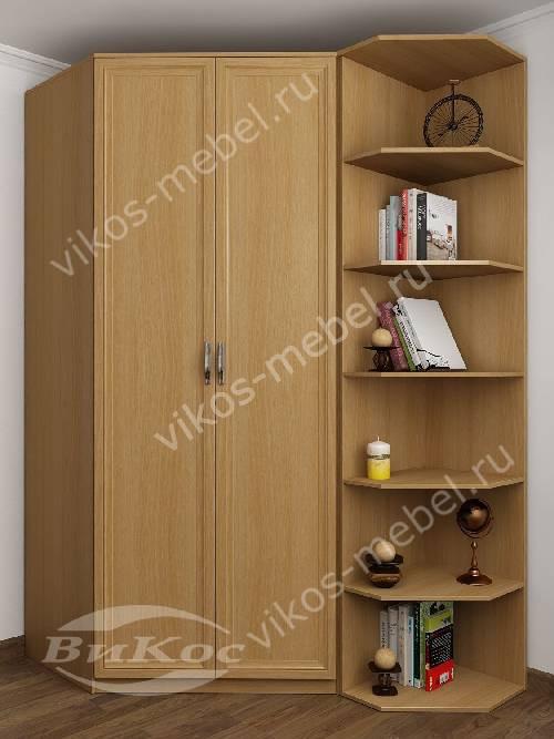 Платяной 2-створчатый шкаф угловой с распашными дверями для спальни цвета бук