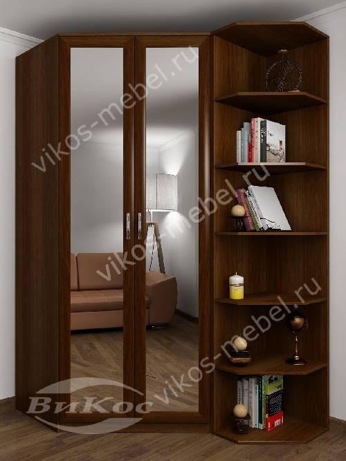Зеркальный 2-створчатый платяной шкаф угловой для спальни с распашными дверями цвета яблоня