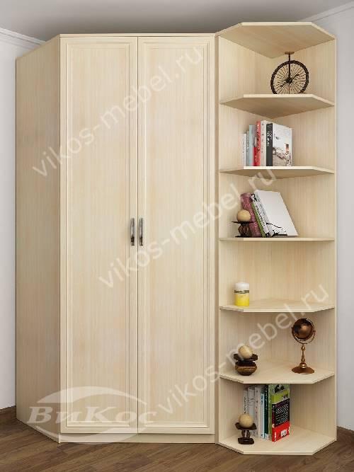 Платяной 2-створчатый шкаф угловой с распашными дверями для спальни цвета молочный беленый дуб