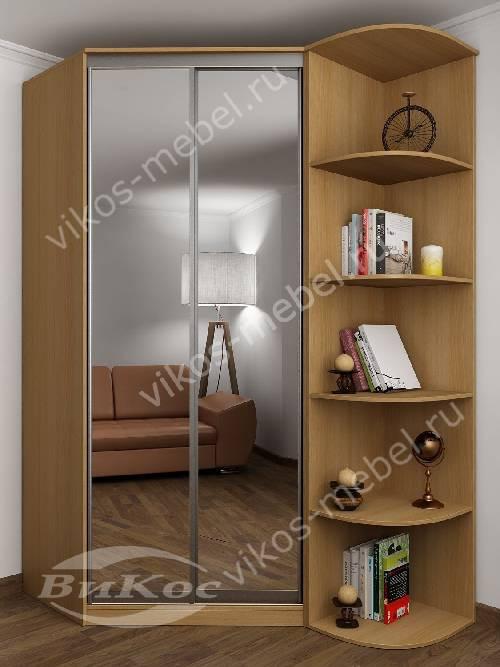 2-дверный угловой шкаф купе для одежды с зеркалом в спальню цвета бук