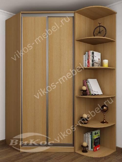 2-дверный угловой шкаф купе для одежды в спальню цвета бук