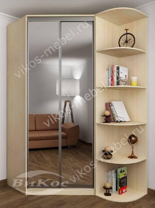 2-дверный угловой шкаф купе для одежды с зеркальной дверью в спальню цвета молочный беленый дуб