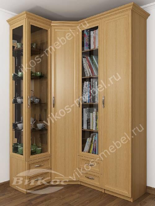 4-дверный распашной угловой шкаф в кабинет для книг цвета бук