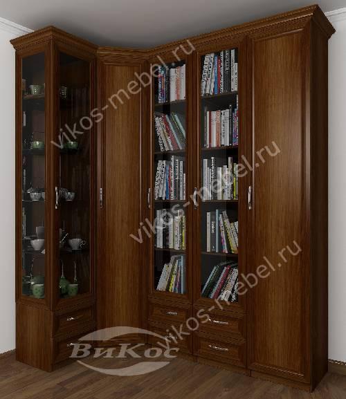 Широкий шкаф угловой с распашными дверями в гостиную для книг цвета яблоня