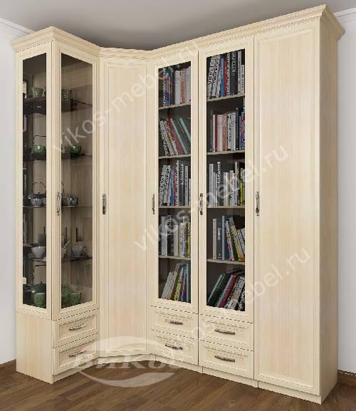 Широкий шкаф угловой с распашными дверями в гостиную для книг цвета молочный беленый дуб