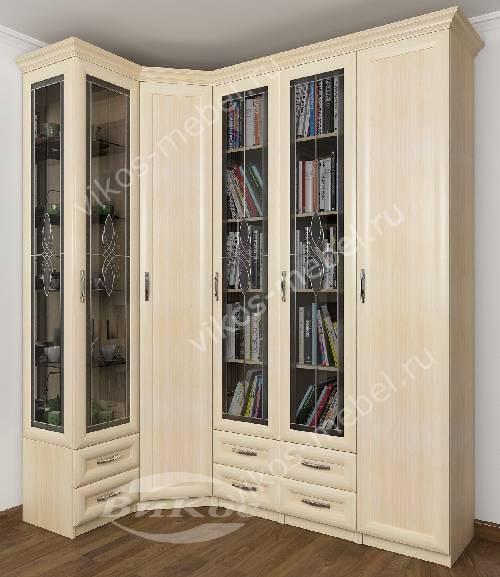 Широкий шкаф угловой в гостиную с распашными дверями для книг с витражом цвета молочный беленый дуб