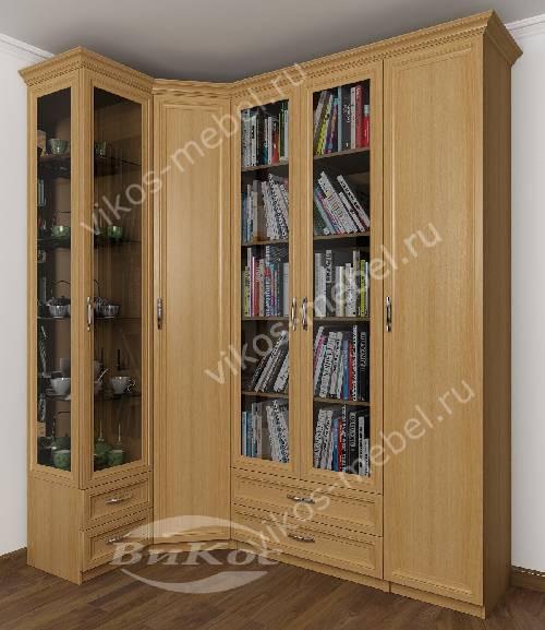Большой распашной угловой шкаф в кабинет для книг цвета бук