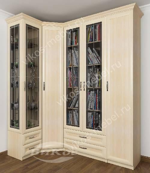 Большой распашной угловой шкаф в кабинет для книг c витражным стеклом цвета молочный беленый дуб