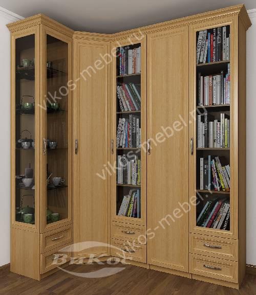 Широкий платяной шкаф угловой с распашными дверями в гостиную цвета бук