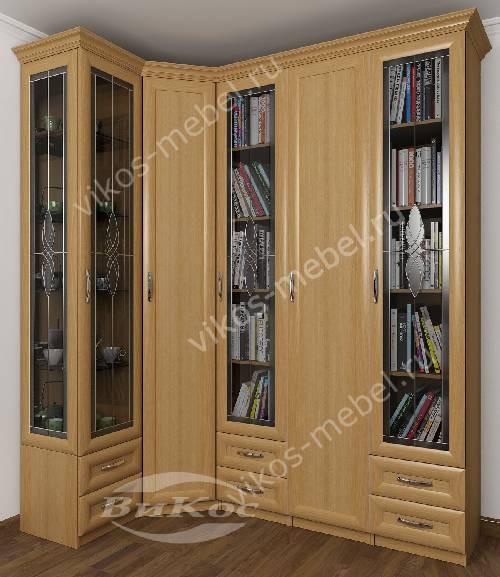 Широкий платяной шкаф угловой с распашными дверями в гостиную c витражным стеклом цвета бук