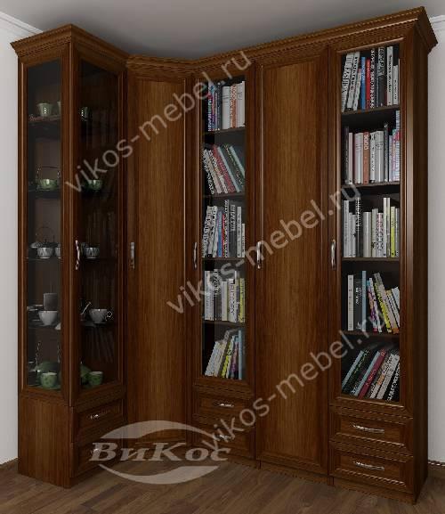 Широкий платяной шкаф угловой с распашными дверями в гостиную цвета яблоня