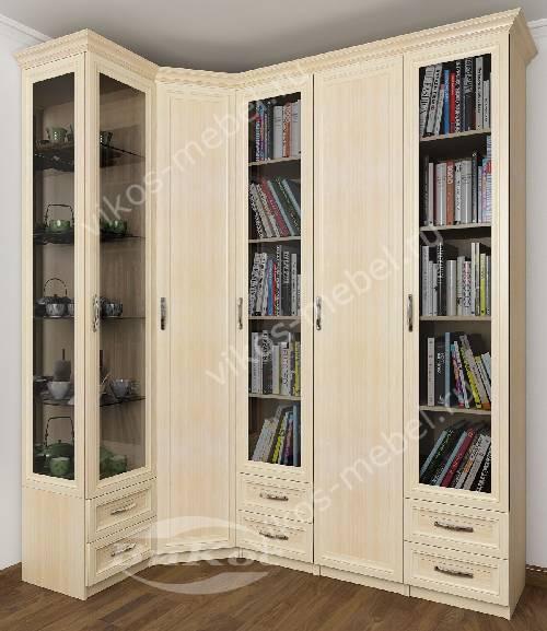 Широкий платяной шкаф угловой с распашными дверями в гостиную цвета молочный беленый дуб