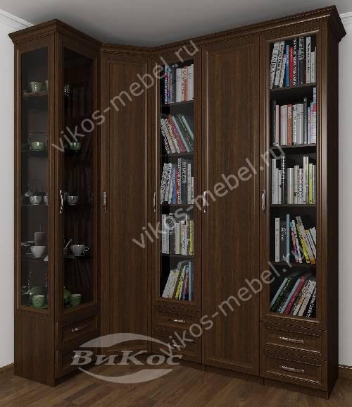 Широкий платяной шкаф угловой с распашными дверями в гостиную цвета венге