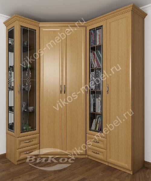 Большой распашной угловой шкаф для одежды в кабинет с витражом цвета бук