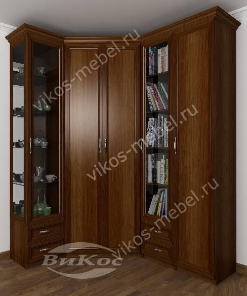 Большой распашной угловой шкаф для одежды в кабинет цвета яблоня