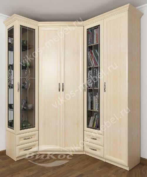 Большой распашной витражный угловой шкаф для одежды в кабинет цвета молочный беленый дуб