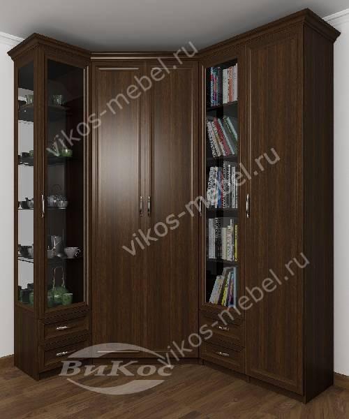 Большой распашной угловой шкаф для одежды в кабинет цвета венге
