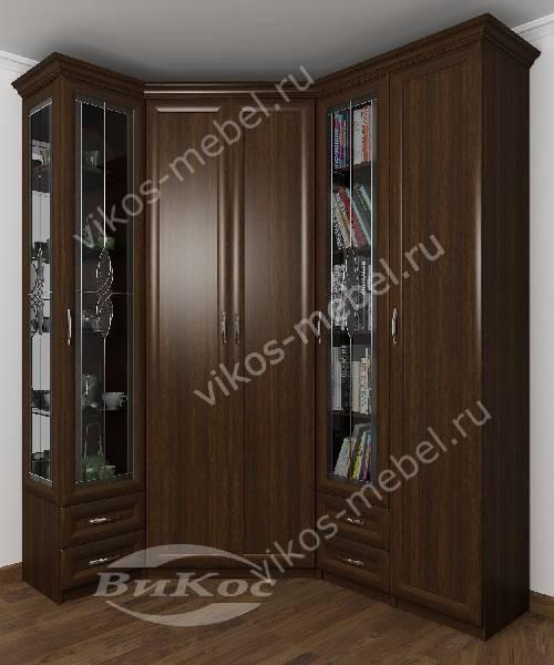 Большой распашной угловой шкаф для одежды в кабинет с витражом цвета венге