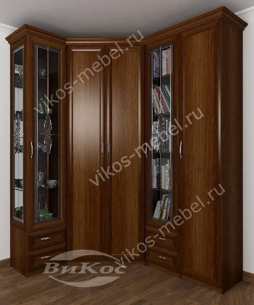 Большой распашной угловой шкаф для одежды в кабинет c витражным стеклом цвета яблоня