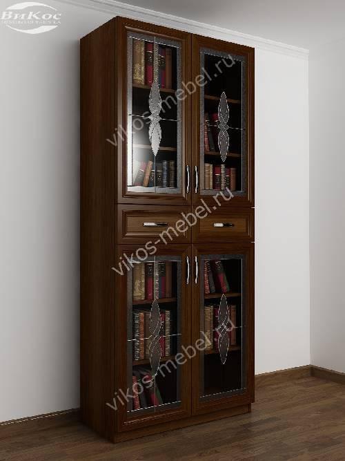 2-дверный шкаф для книг c витражным стеклом цвета яблоня