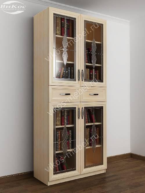 2-дверный шкаф для книг с витражом цвета молочный беленый дуб