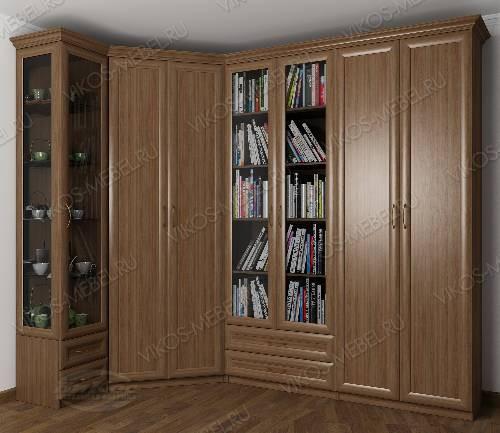 Широкий платяной шкаф угловой с распашными дверями в гостиную цвета шимо темный