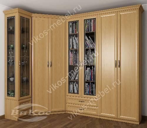 Широкий витражный платяной шкаф угловой в гостиную с распашными дверями цвета бук