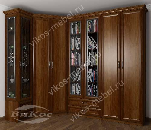 Широкий платяной шкаф угловой с распашными дверями в гостиную c витражным стеклом цвета яблоня