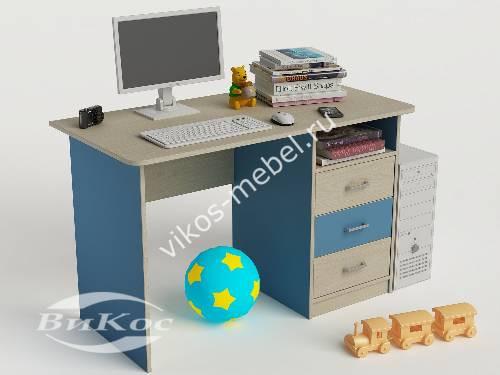 Письменный стол в детскую с выдвижными ящиками для парня голубого цвета