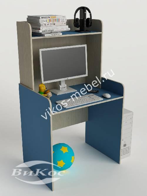 Стол для учебы с надстройкой для парня голубого цвета