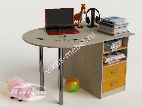 Письменный стол в детскую с ящиками желтого цвета