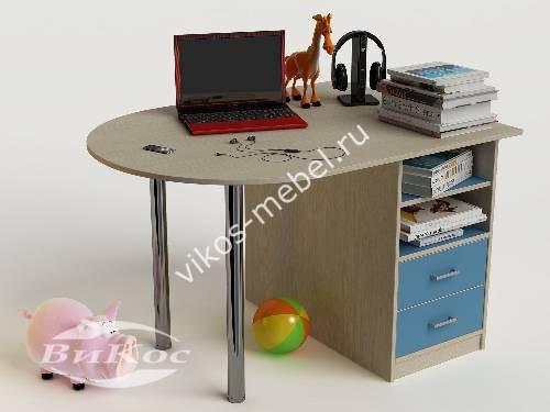 Письменный стол в детскую с ящиками для парня голубого цвета