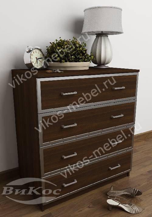 Комод для белья с четырьмя ящиками в спальню цвета венге