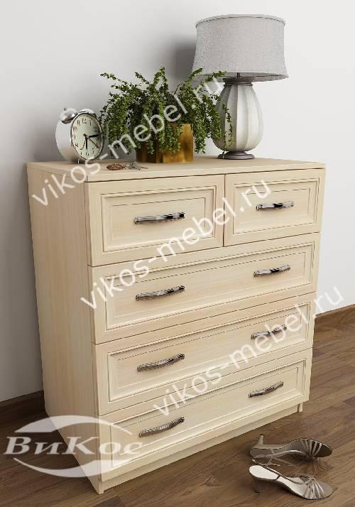 Бельевой комод с пятью ящиками в спальню цвета молочный беленый дуб
