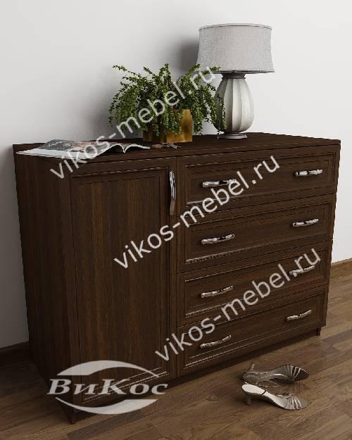Широкий бельевой комод для спальни с дверцей с 4-мя ящиками цвета венге