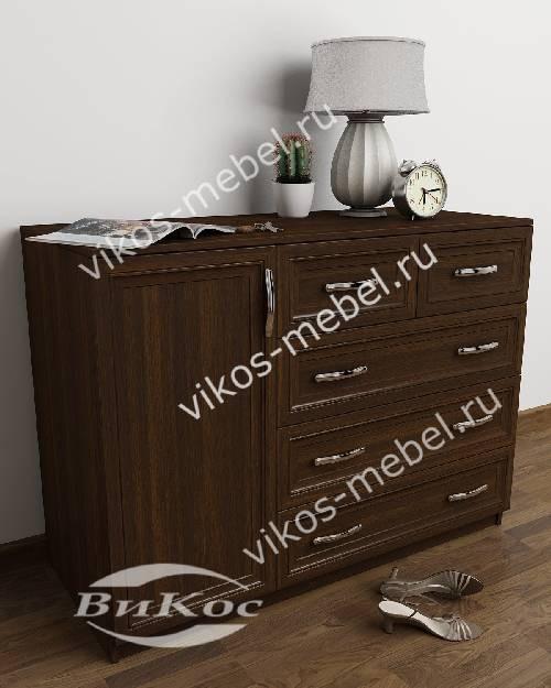 Большой бельевой комод для спальни с дверцей с пятью выдвижными ящиками цвета венге