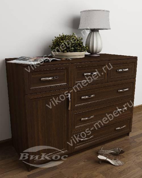 Широкий бельевой комод со шкафчиком с шестью ящиками цвета венге