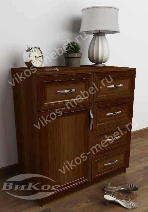 Комод для белья с дверцей с 5-ю выдвижными ящиками в спальню цвета яблоня