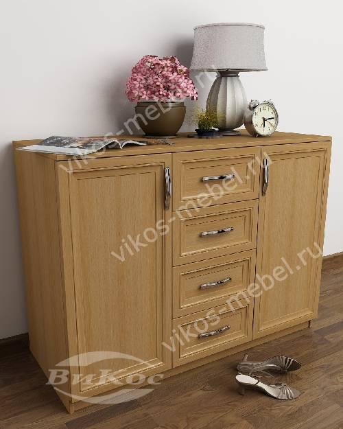 Большой комод в гостиную со шкафчиком с 4-мя выдвижными ящиками цвета бук