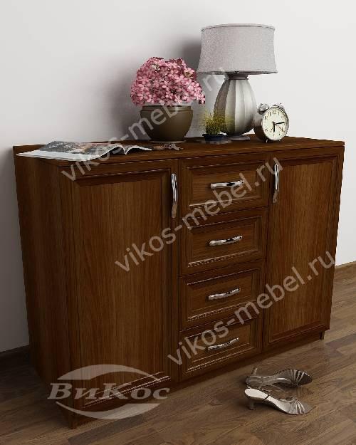 Большой бельевой комод в гостиную со шкафчиком с 4-мя выдвижными ящиками цвета яблоня