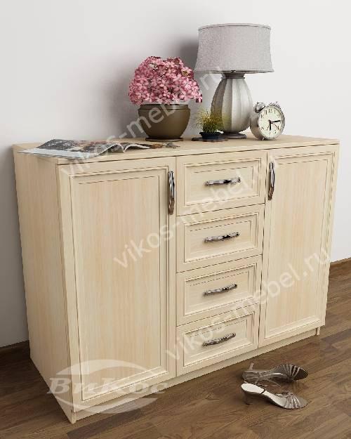 Большой бельевой комод в гостиную со шкафчиком с 4-мя выдвижными ящиками цвета молочный беленый дуб