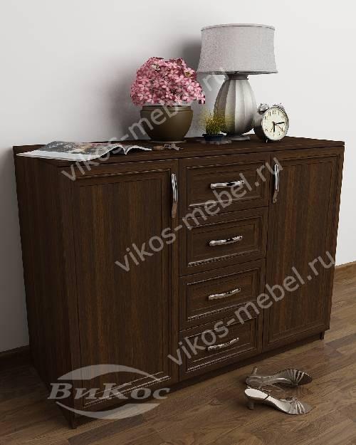 Большой комод для белья в гостиную со шкафчиком с 4-мя выдвижными ящиками цвета венге