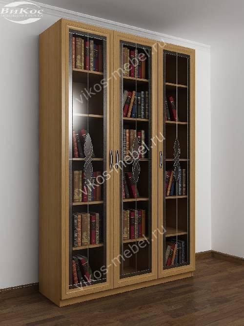 3-створчатый книжный шкаф c витражным стеклом цвета бук