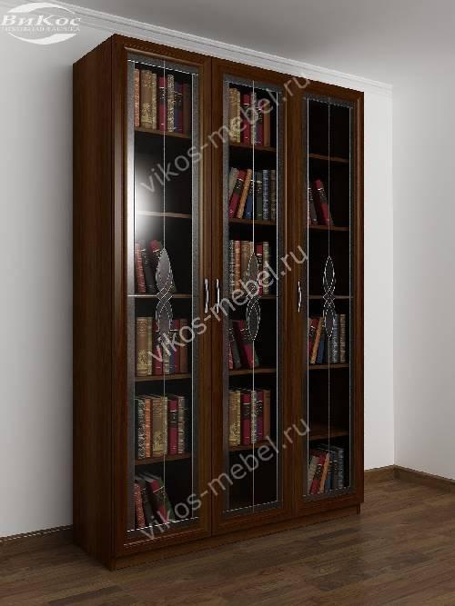 3-створчатый книжный шкаф с витражом цвета яблоня
