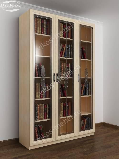 3-створчатый витражный книжный шкаф цвета молочный беленый дуб
