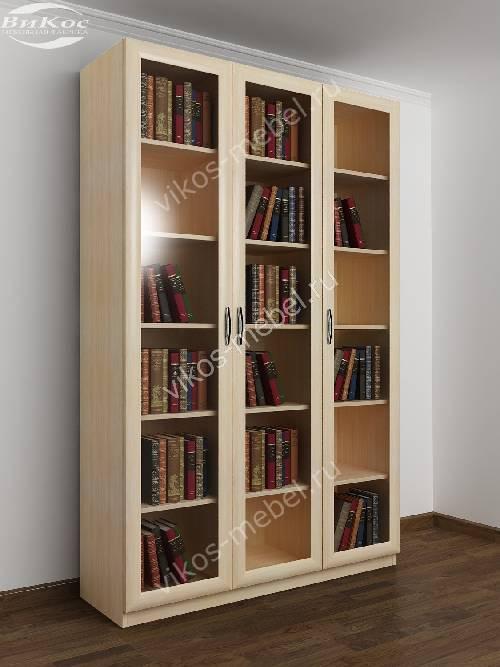 3-створчатый книжный шкаф цвета молочный беленый дуб